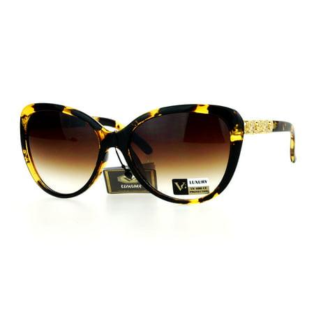 VG Eyewear Rose Metal Jewel Arm Oversize Cat Eye Sunglasses Tortoise (Tortoise Cat Eye Sunglasses)
