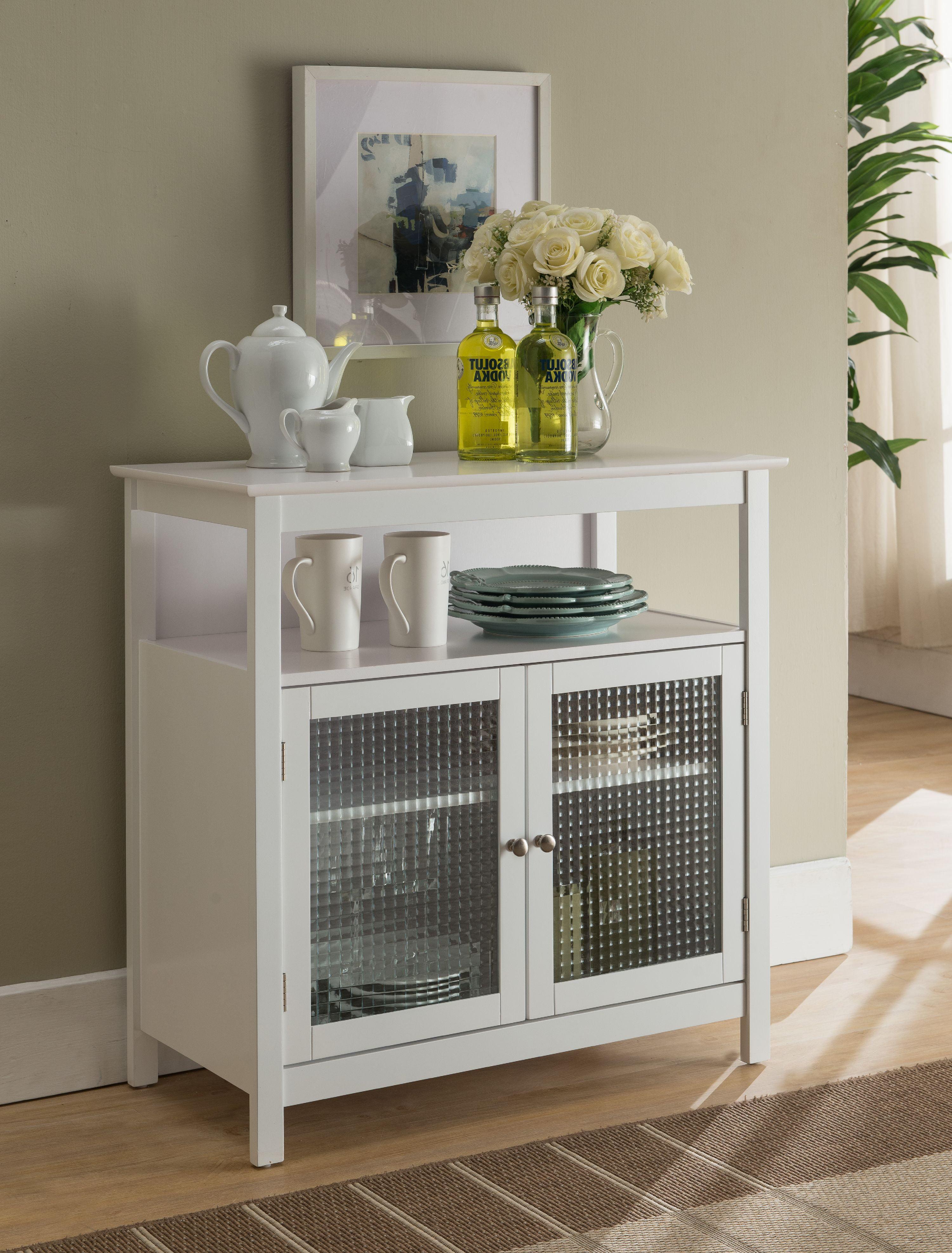 White Wood Contemporary Kitchen Storage Display Buffet Cabinet ...