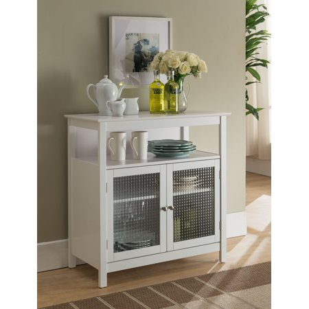 Ezra White Wood Contemporary Kitchen Storage Display Buffet Cabinet With Shelf Gl Doors