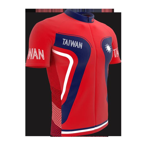 Taiwan Full Zipper Bike Short Sleeve Cycling Jersey for Men - Size 3XL