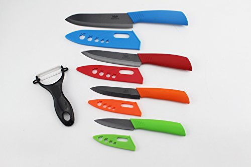 Click here to buy Ceramic Knife Wolfgang Cutlery Ceramic knife Set 9PC. Professional Series Kitchen Knives Multi-Color W  Black... by Wolfgang Cutlery.