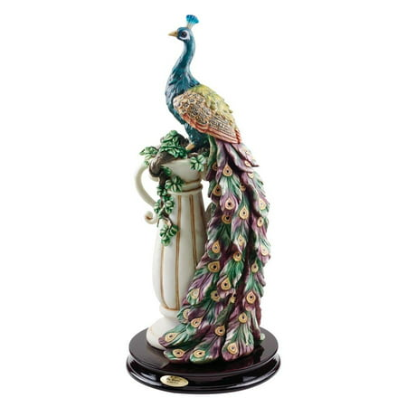 Home Design Glass Sculpture (Design Toscano The Peacock's Sanctuary)