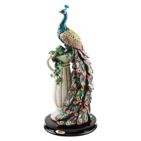 Home Design Glass Sculpture (Design Toscano The Peacock's Sanctuary)