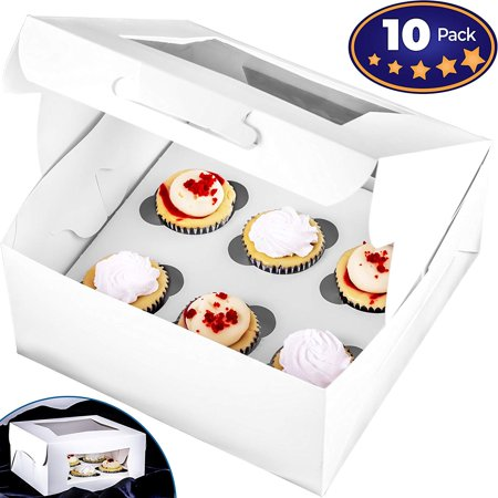 Pro-Quality Bakery Boxes for 6 Cupcakes with Display Window & Cupcake Inserts 10 Pack. Each USA Made, Bright White Box Showcases Your Cup Cakes. Easily Customized Carrier for Bake Sales!