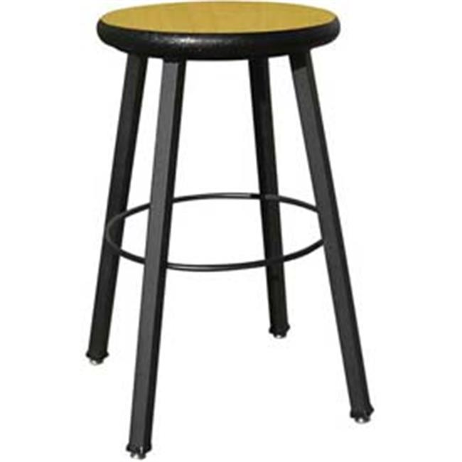 National School Lines QSSTL7186-AJ-94 24 inch Fixed Four-Legged Square Tube Fully Welded Stool, Fusion Maple Laminate -