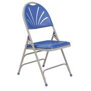 NPS® 1100 Series Deluxe Fan Back With Triple Brace Double Hinge Folding Chair, Blue (Pack of 4)