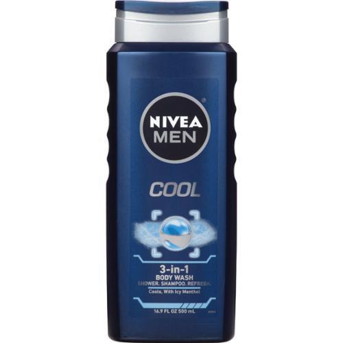 NIVEA FOR MEN Body Wash Cool 16.90 oz (Pack of 6)