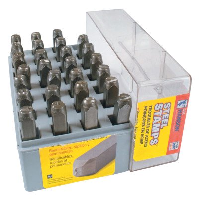 C.H. Hanson Standard Steel Hand Stamp Sets, 1/4 in, 0 thru 8; A thru Z
