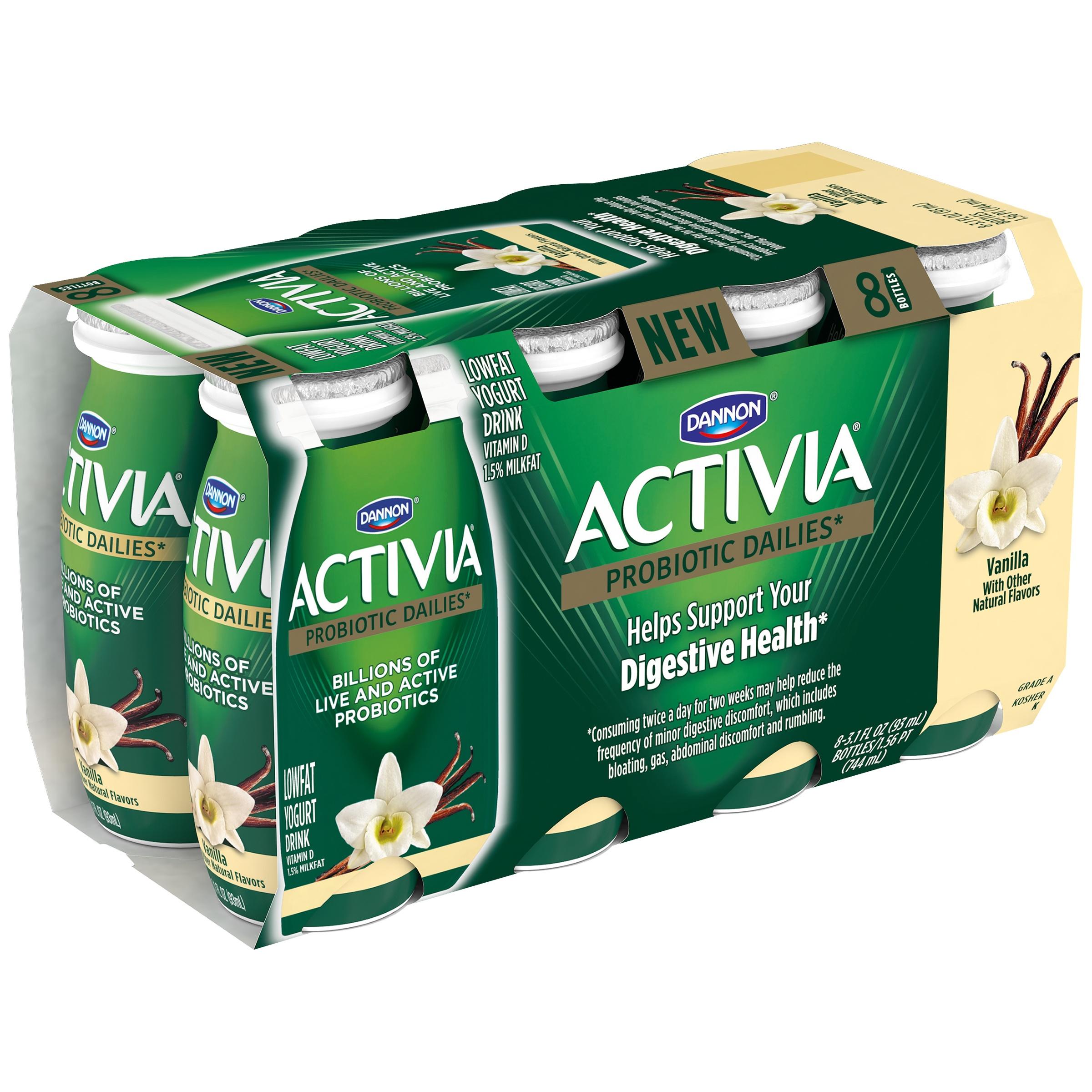 V8 Energy Review >> Dannon Activia Probiotic Dailies Low Fat Vanilla Yogurt Drink, 3.1 Fl. Oz., 8 Bottles - Walmart.com