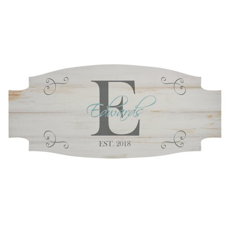 Personalized Family Initial & Name Wood Sign - Available in 3 Colors - Personalized Family Name Signs