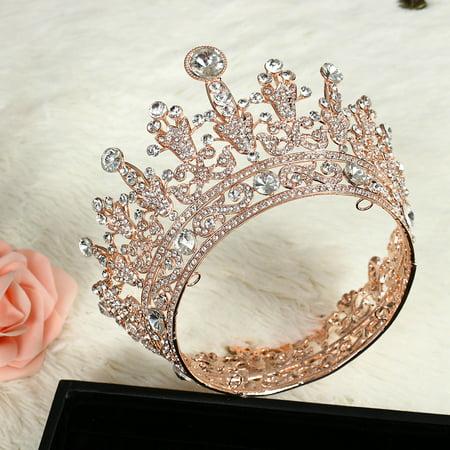 Princess Party Crowns (Luckyfine Plated Round Crystal Rhinestone Full Tiara Crown Rose Gold for Headband Wedding)