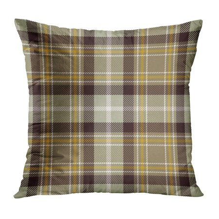 ECCOT Abstract Tartan Beige Black Gold and White Color Plaid Flannel Patterns Tiles for Ancient British Buffalo Pillowcase Pillow Cover Cushion Case 18x18 -