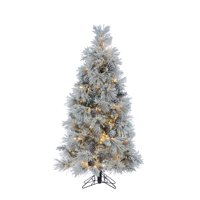 Gerson 5Ft. Flocked Crystal White Pine Tree with Pine cones and 500 Warm White LED Micrio Lights