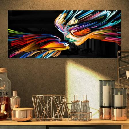 DESIGN ART Designart 'Kissing Minds Graphic Art' Abstract Metal Wall Art ()