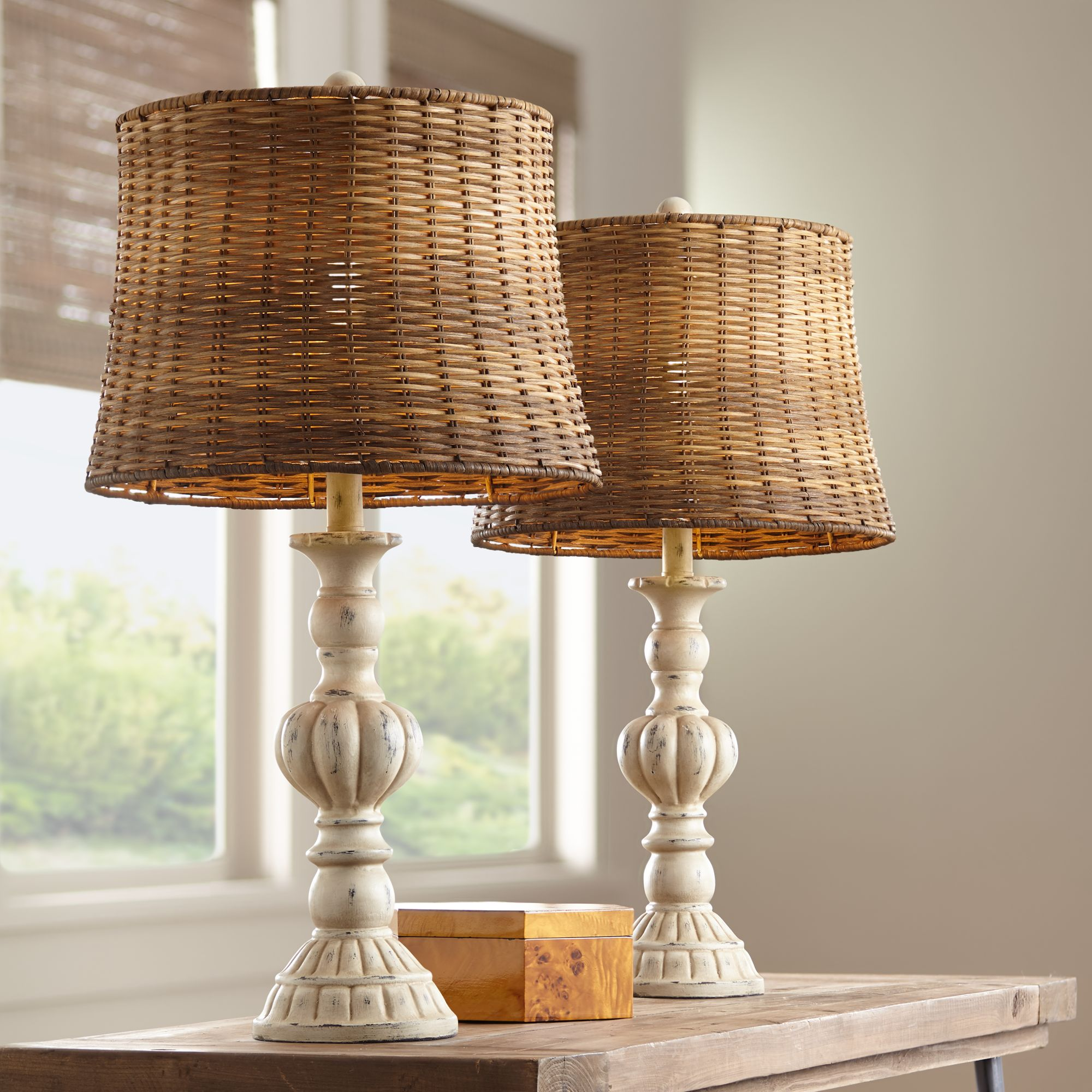 John Timberland Country Cottage Table Lamps Set of 12 Antique White  Candlestick Rattan Tapered Drum Shade for Living Room Bedroom   Walmart.com
