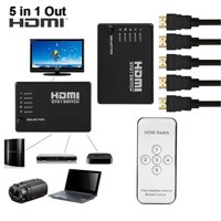 HDMI 5 Port Switch Switcher 1080P 3D HDMI Splitter with IR Wireless Remote Control for HDTV DVD PS3 XBox 360