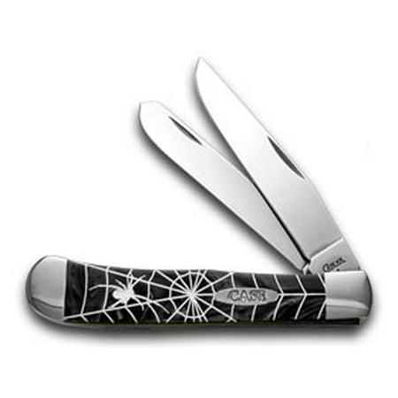 CASE XX Black Widow Etched Black Pearl Trapper - Black Widow Pocket Knife Knives