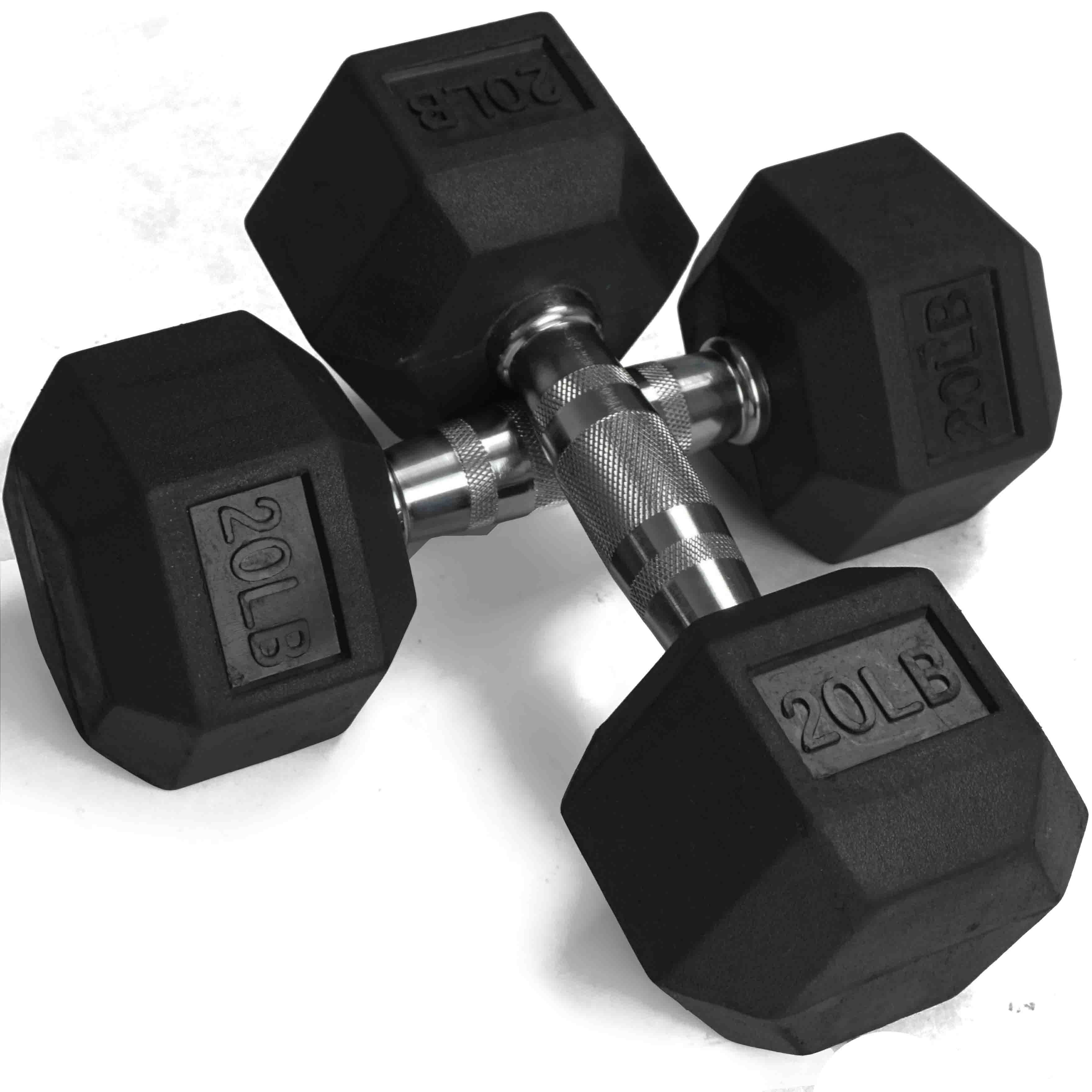 Pair of 20 lb Black Rubber Coated Hex Dumbbells Weight Training Set, 40 lb