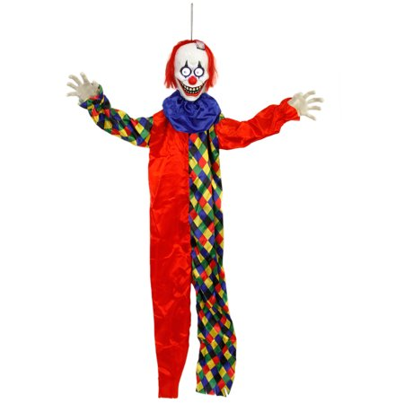 Halloween Haunters 5ft Animated Hanging Circus Clown Scary Eyes Prop Decoration - Evil Entity Animated Halloween Prop