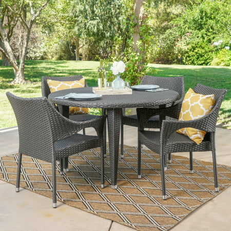 Shelton Outdoor 5 Piece Wicker Circular Dining Set, Grey ()