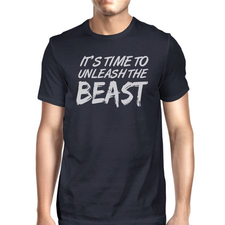 Unleash Beast Mens Navy Cool Cotton T-Shirt Humorous Gift Tee Shirt Navy Unleashed T-shirt