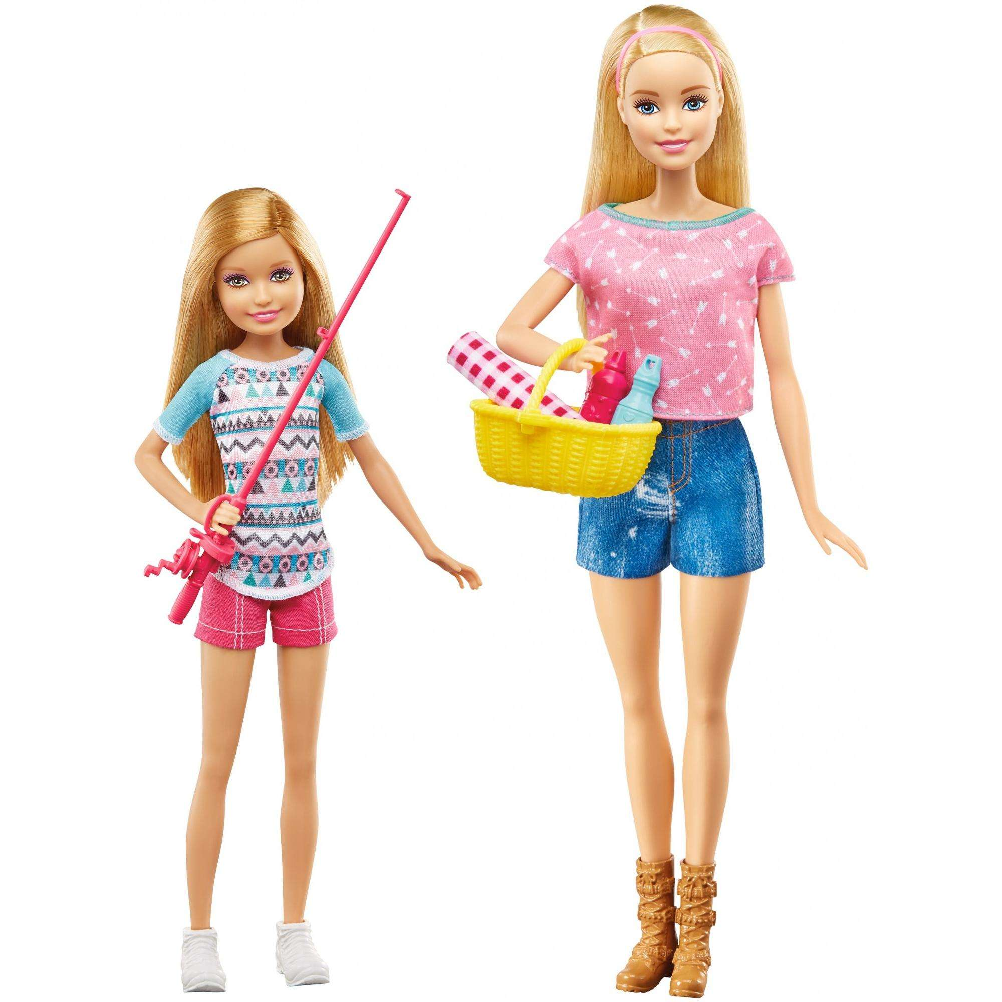 Barbie Camping Fun Barbie & Stacie Dolls with Fishing & Picnic Accessories