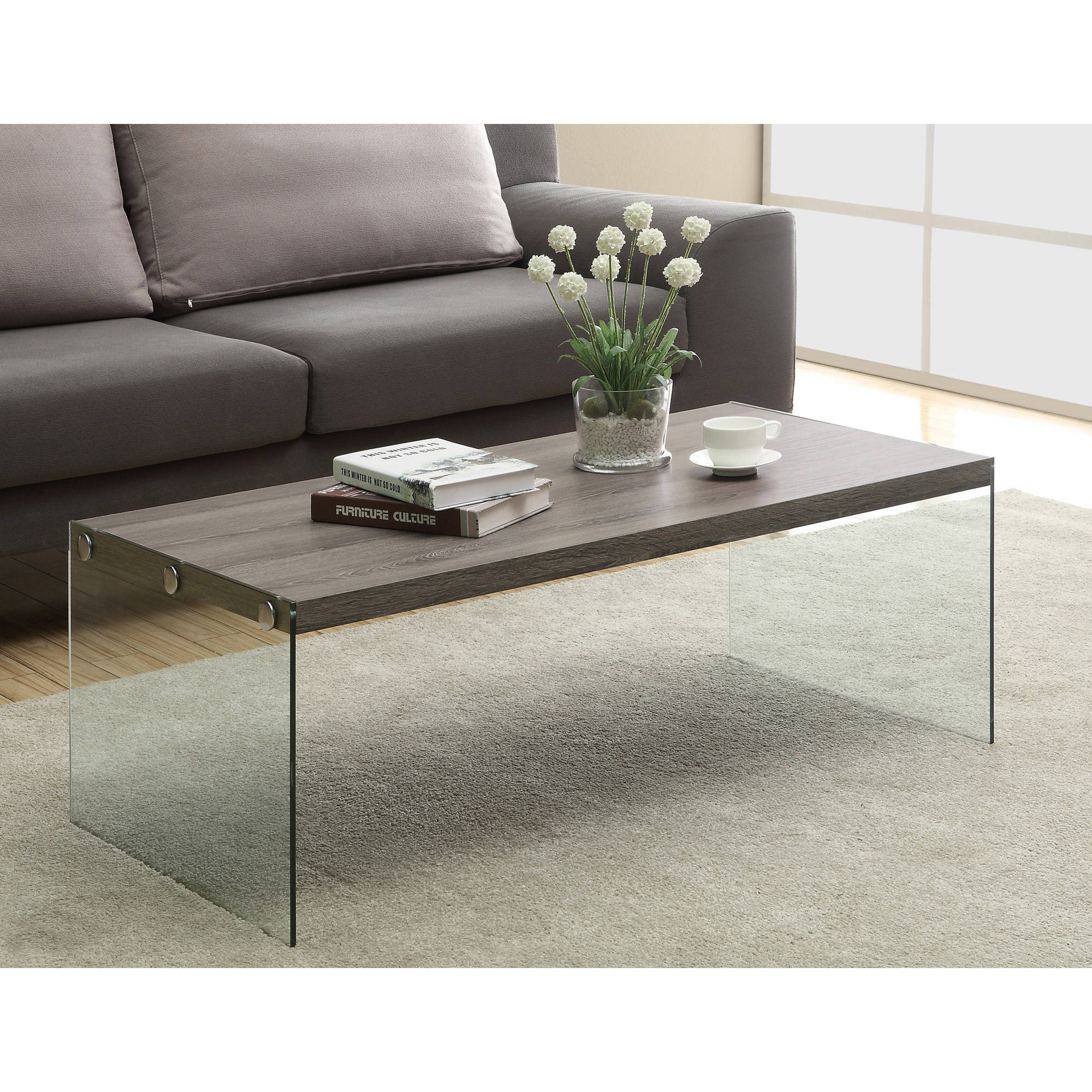 Monarch Coffee Table Dark Taupe With Tempered Glass Walmart