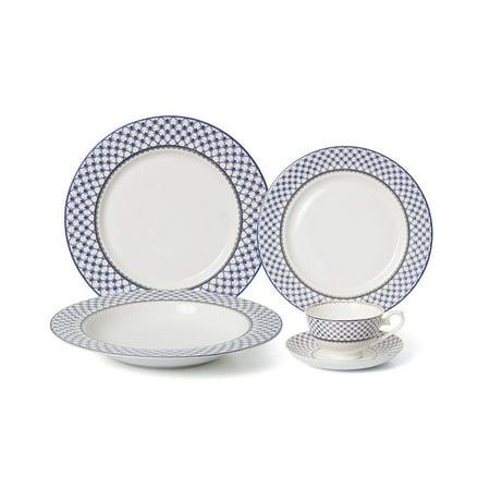 Royalty Porcelain 20-pc Dinner Set for 4, Premium Bone China (Villa Azure) ()