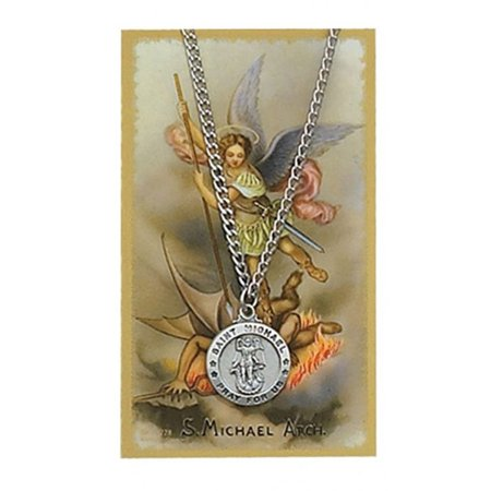 Michael Medal Necklace (Pewter Saint Michael Pray for Us Medal Pendant with Laminated Prayer Card, 3/4 Inch )
