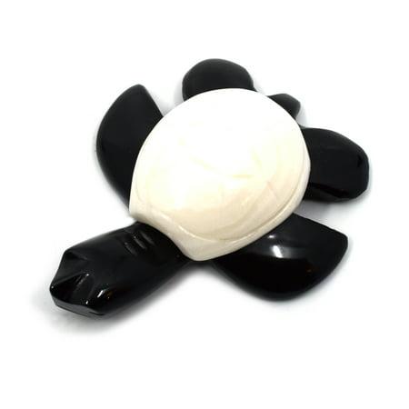 North American Box Turtles - Sweet Black Onyx Aragonite Turtle Figure, 2.5