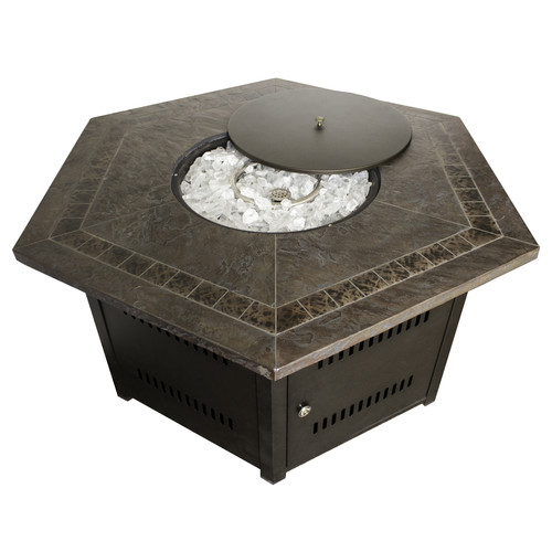 Hiland Hexagon Firepit with Faux Stone Top by AZ Patio Heaters