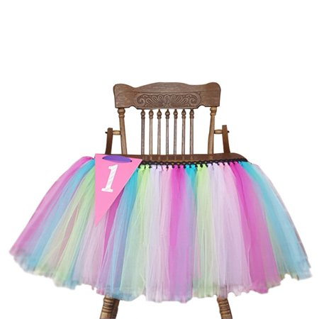 Romantic 27.6'x13.8' Baby's 1st Birthday Party High Chair Tutu Skirt Party Supply