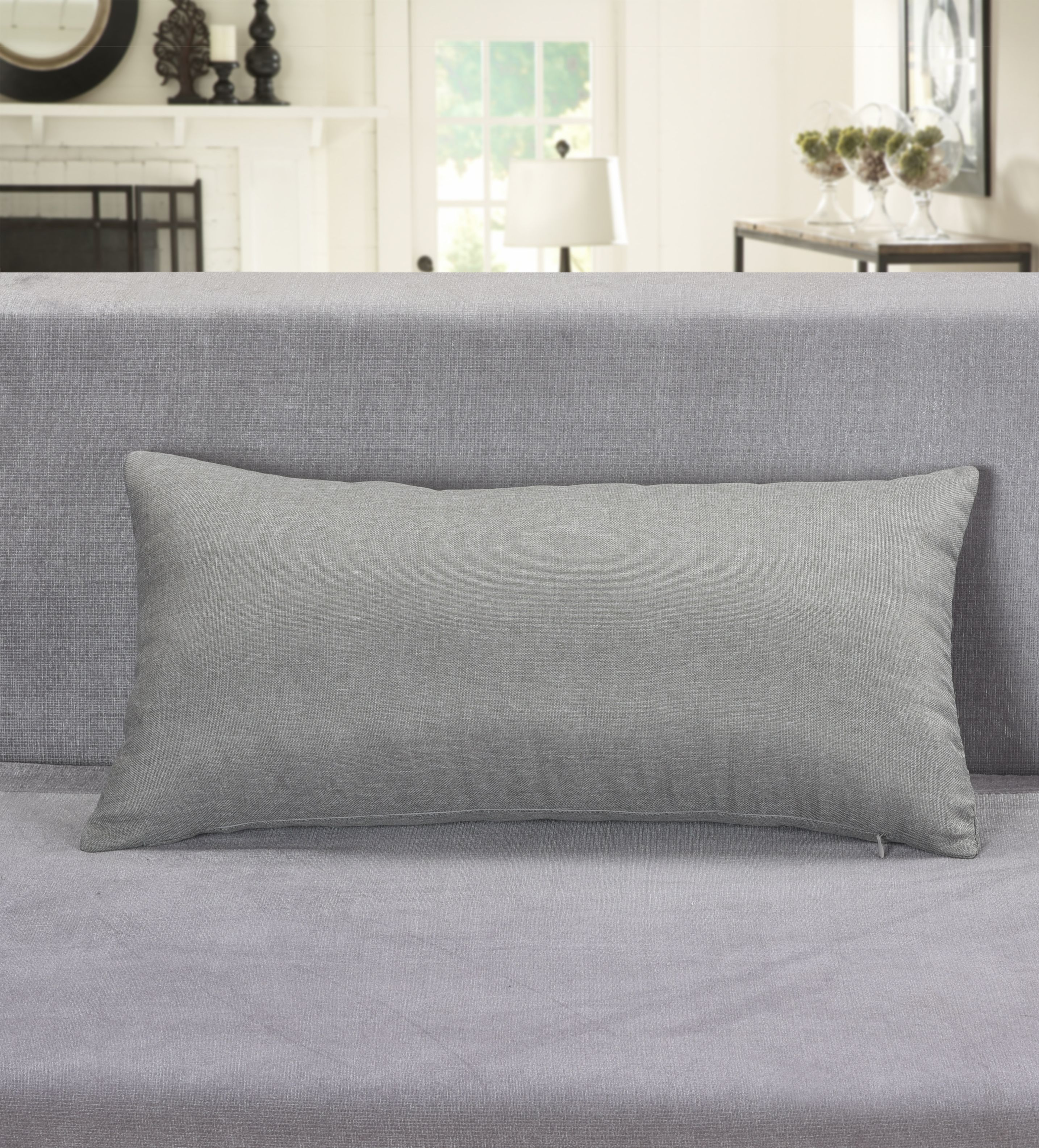 "Aiking Home Breathable Solid Faux Linen Lumbar Throw Pillow Case for Sofa, Bedroom or Car... (12""x24"", Gray)"