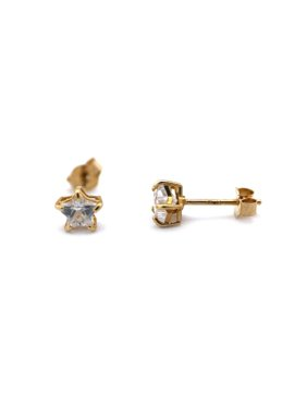 e74dedbe0 Product Image 14k Yellow or White Gold Small 4mm Cubic Zirconia Star Stud  Earrings