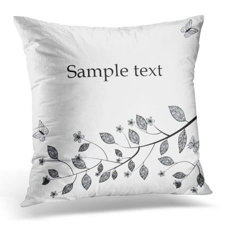 ARHOME Tree White Leaf Border Branch with Leaves and Flowers Black Botanical Autumn Pillow Case Cushion Cover 18x18 (Autumn Leaves Border)