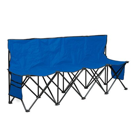 Strange Yaheetech 4 Seats Portable Folding Bench For Camping Bench Chairs With Backrest Blue Bralicious Painted Fabric Chair Ideas Braliciousco