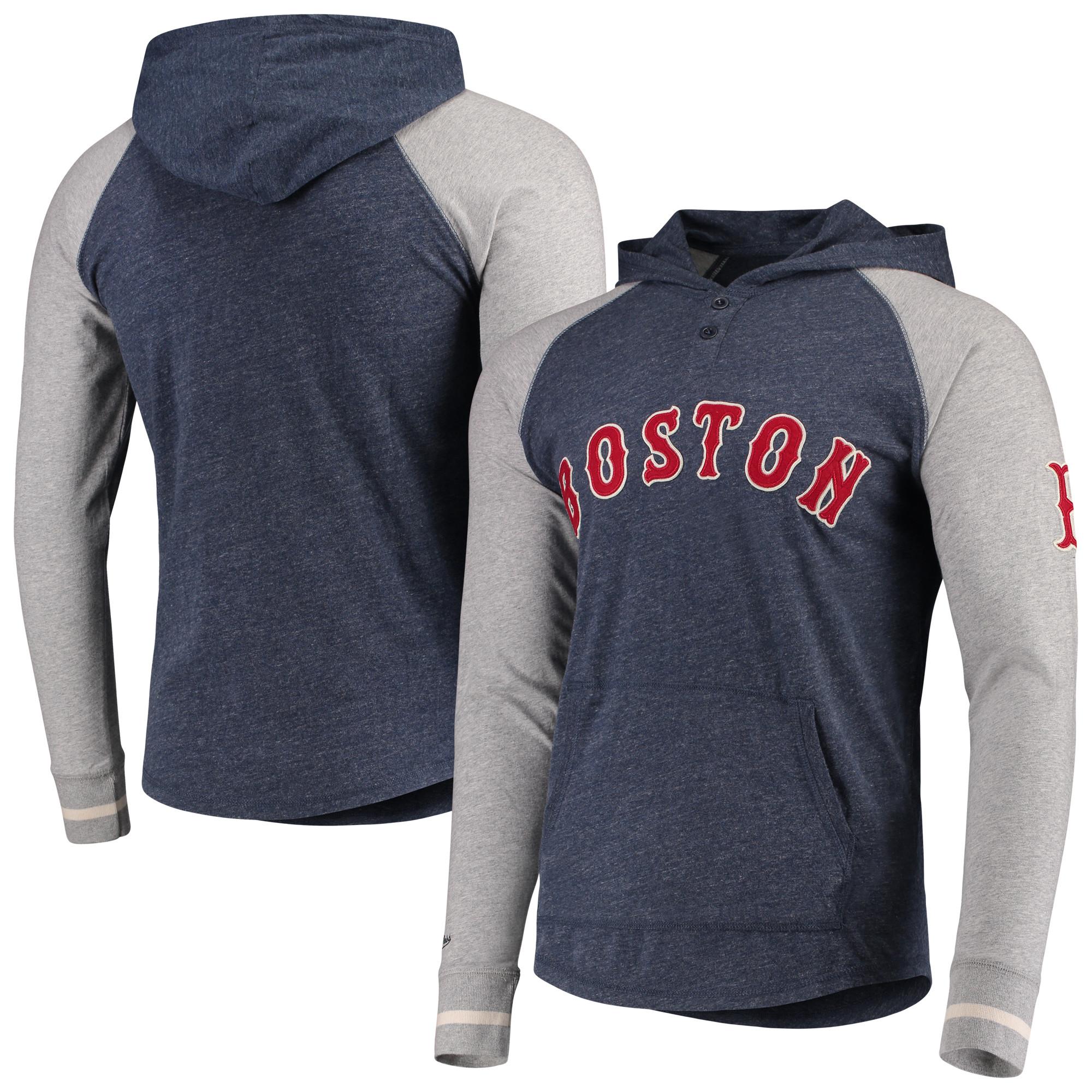 Boston Red Sox Mitchell & Ness Slugfest Lightweight Hoodie - Navy