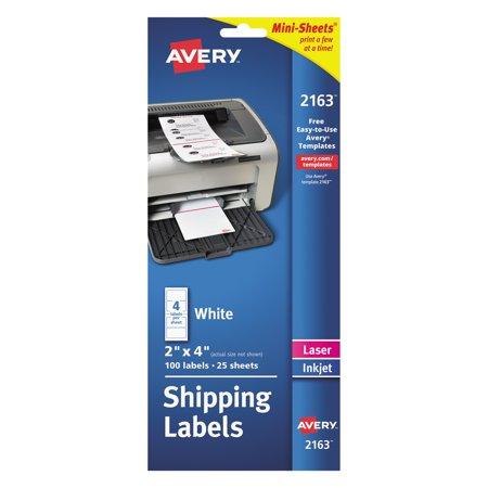 Avery Mini-Sheets Shipping Labels, 2 x 4, White, 100/Pack Avery Mini Sheet Label