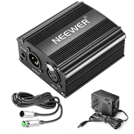 neewer 1-channel 48v phantom power supply with adapter, bonus+xlr 3 pin microphone cable for any condenser microphone music recording equipment (8