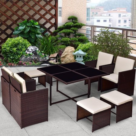 Gymax 9pc Wicker Rattan Set Table Sofa Lounge Couch Set
