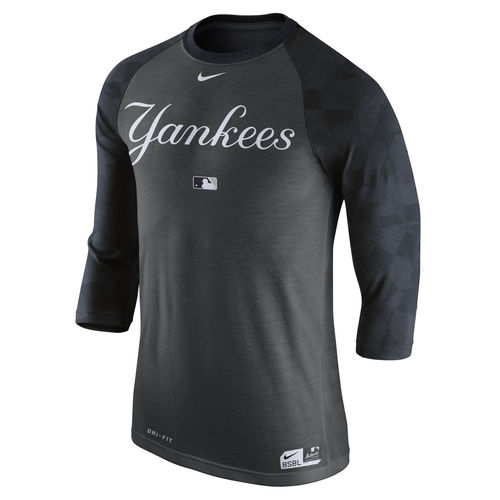 Men's Nike Charcoal New York Yankees Authentic Collection Legend 1.7 3/4-Sleeve Raglan Performance T-Shirt