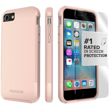 SaharaCase iPhone 8 and 7 Inspire Case, Protective Kit Bundle with ZeroDamage Tempered Glass Screen Protector ? Rose Gold