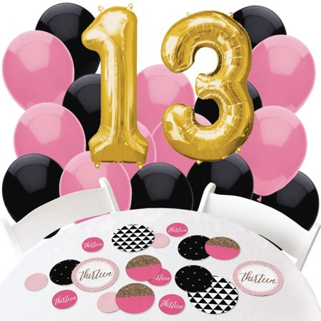 Chic 13th Birthday - Pink, Black and Gold - Confetti and Balloon Party Decorations - Combo - Chic Party Supplies