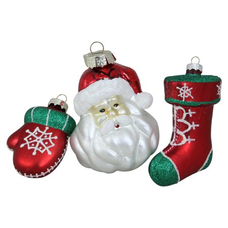 Northlight 3 Piece Santa Mitten and Stocking Ornament Set