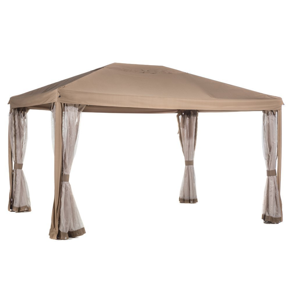 Abba Patio 10 x 12-Ft Fully Enclosed Garden Gazebo Patio Canopy with Mosquito Netting - Brown