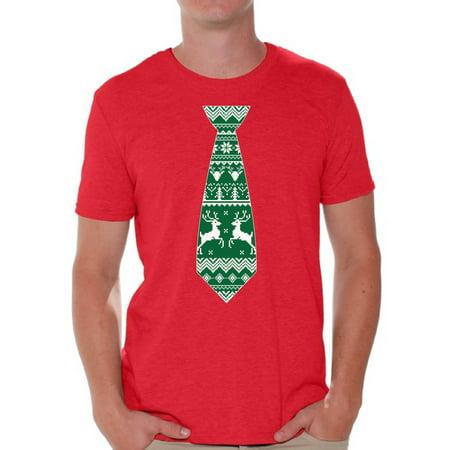 Awkward Styles Christmas Tie Shirt Tie Men's Christmas Costume Tie Tshirt Christmas Holiday Top Christmas Tshirts for Men Funny Tie Shirt Christmas Gift for Him Christmas Party Outfit for Men ()