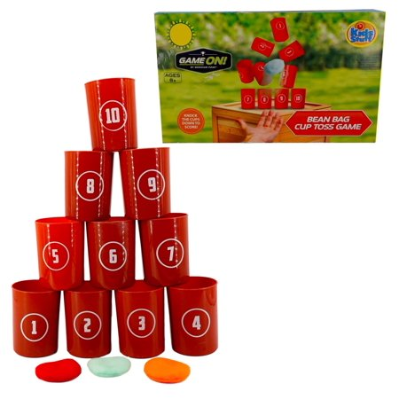Game On! BeanBag Cup Toss Game (10 Cups, 3 Beanbags)- Adult / Kids, Birthday, Carnival Games, Backyard (Fun Games For 7 Year Old Birthday Party)