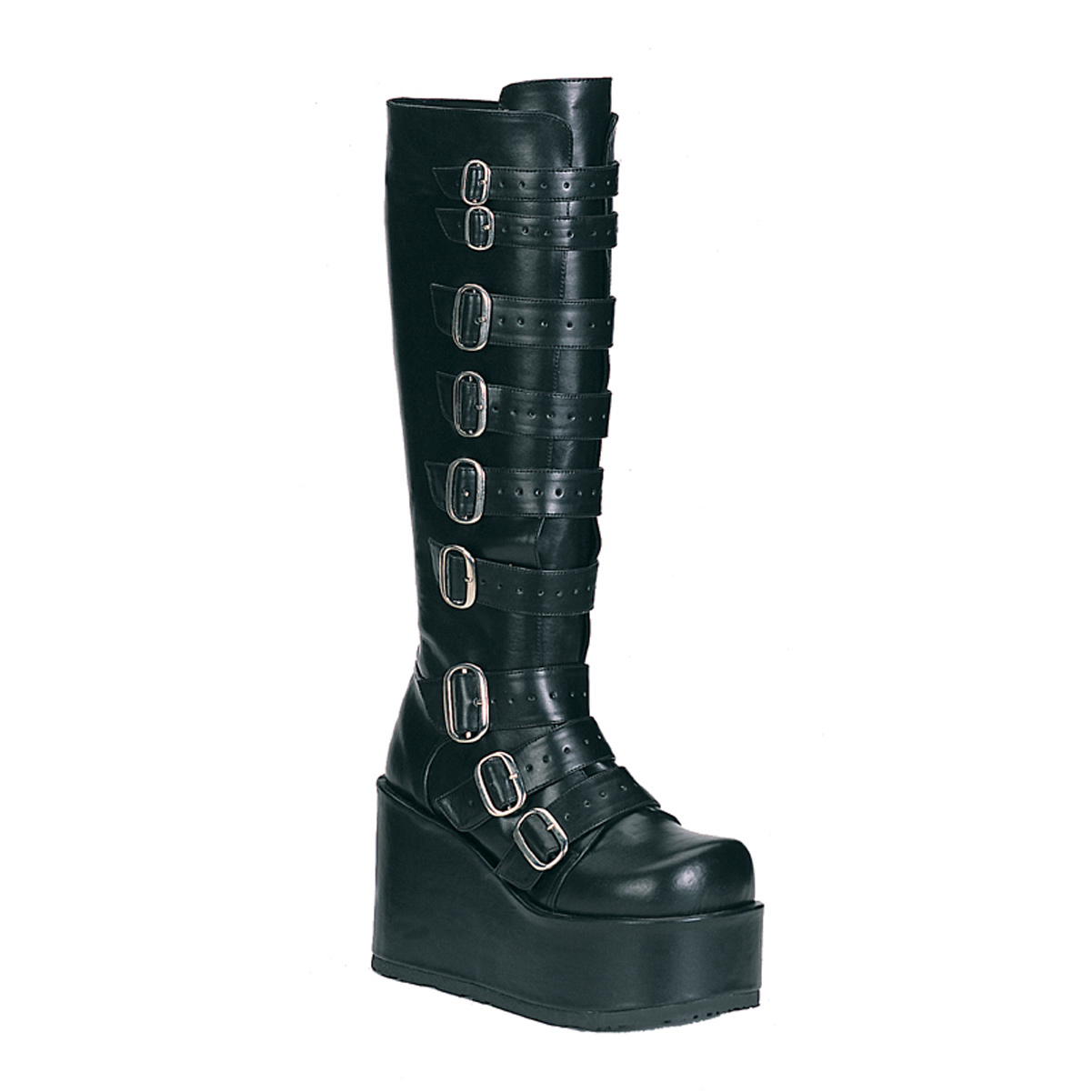 4 1 4 Inch Gothic Platform Knee Boots Buckle Detail Black Demonia by