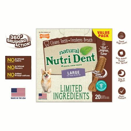 Nylabone NutriDent Natural Dental Chew Treats 20 Count Filet Mignon Flavor