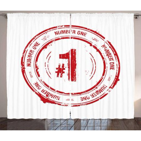 Number Curtains 2 Panels Set, Number One Old Fashioned Grunge Stamp at Top Best Leader Emblem Design, Window Drapes for Living Room Bedroom, 108W X 108L Inches, Vermilion and White, by